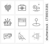 line icon set of 9 modern...