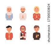 moslem character avatar set... | Shutterstock .eps vector #1730033824