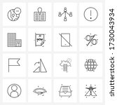 simple set of 16 line icons...