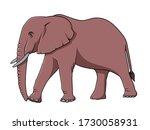 cartoon elephant  vector... | Shutterstock .eps vector #1730058931