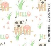 farm seamless pattern   cartoon ... | Shutterstock .eps vector #1730079874