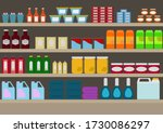 shelves in supermarkets with... | Shutterstock .eps vector #1730086297