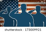 Three US Army soldiers saluting on grunge american flag background vector (for 4th of July and Veteran's day)