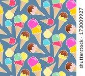 seamless vector ice cream... | Shutterstock .eps vector #173009927