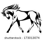 trotting horse black and white... | Shutterstock .eps vector #173013074