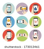 hand holding phone icon | Shutterstock .eps vector #173013461