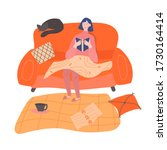 a girl is sitting on a sofa and ...   Shutterstock .eps vector #1730164414