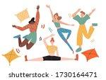 group of friends celebrates...   Shutterstock .eps vector #1730164471