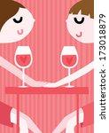 girl couple on a romantic date... | Shutterstock .eps vector #173018879