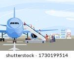 people boarding airplane ... | Shutterstock .eps vector #1730199514