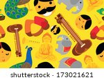 classic indian things seamless... | Shutterstock .eps vector #173021621