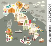 italy map vector. illustrated... | Shutterstock .eps vector #1730292004