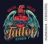 tattoo studio vintage colorful... | Shutterstock . vector #1730312551
