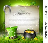 beer,celebration,celtic,clover,coins,copyspace,day,empty,glass,gold,grass,green,hat,holiday,icon