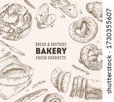 bakery shop. linear graphic.... | Shutterstock .eps vector #1730355607