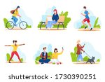 people spend time in a city... | Shutterstock .eps vector #1730390251