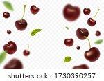 falling cherries with green...   Shutterstock .eps vector #1730390257