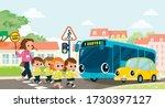 teacher and school kids cross... | Shutterstock .eps vector #1730397127