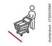 shopping cart line up behind... | Shutterstock .eps vector #1730415484
