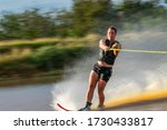 Panning Shot Of A Skier With...