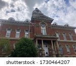 Small photo of Athens, Ohio, USA, May 10, 2020: The facade of the Athens County Common Pleas court in Athens, Ohio, home of Ohio University.