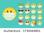 emoticon wearing face masks in... | Shutterstock .eps vector #1730464801
