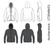 Blank Men's hoodie with zipper in front, back and side views