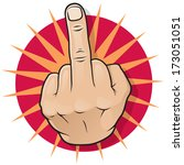 vintage pop art middle finger... | Shutterstock .eps vector #173051051