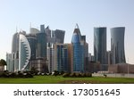 Stock photo skyscrapers downtown in doha qatar middle east 173051645