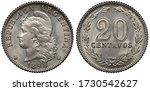 Argentina Argentinean coin 20 twenty centavos 1898, Liberty head left, denomination within wreath,