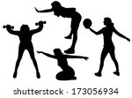 vector silhouette of a woman on ... | Shutterstock .eps vector #173056934