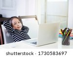 the asian little girl is... | Shutterstock . vector #1730583697