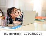 the asian little girl is... | Shutterstock . vector #1730583724