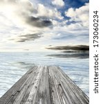 wooden pier on sunny day with... | Shutterstock . vector #173060234