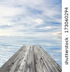 wooden pier on sunny day with... | Shutterstock . vector #173060294
