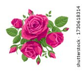 a bouquet of intense pink roses.... | Shutterstock .eps vector #1730618314