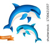 realistic blue dolphin in... | Shutterstock .eps vector #1730621557
