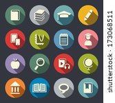 education theme flat icons | Shutterstock .eps vector #173068511