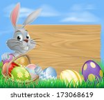 easter bunny rabbit and sign... | Shutterstock .eps vector #173068619