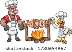 bull and chicken roasting a... | Shutterstock .eps vector #1730694967