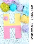 one letter of knit handmade...   Shutterstock . vector #173074535