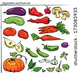 set of delicious vegetables and ... | Shutterstock . vector #173085935