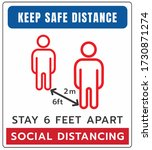 keep your distance sign. stop... | Shutterstock .eps vector #1730871274