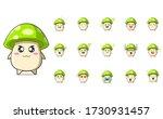 Set Of Cute Green Mushroom...
