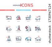 different mammals   modern line ... | Shutterstock .eps vector #1730967124