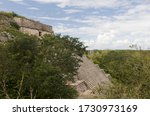 Mexico – Jan 19 2007: Mayan architecture - The Great Pyramid rises up above the jungle canopy at Uxmal