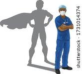a nurse or doctor super hero in ...   Shutterstock .eps vector #1731014374