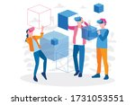 man and woman wearing virtual... | Shutterstock .eps vector #1731053551