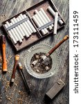 smoked a wooden pipe with... | Shutterstock . vector #173111459