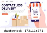 contactless delivery service... | Shutterstock .eps vector #1731116371